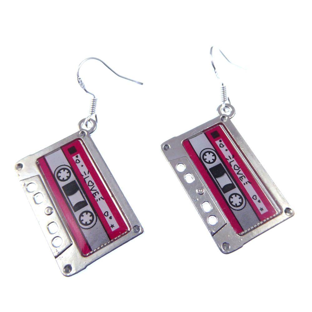2.5cm 80's style cassette tape metal dangly earrings on sterling hooks in o