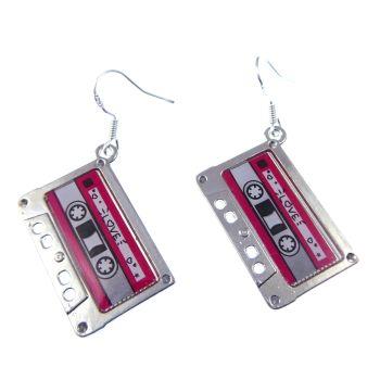 2.5cm 80's style cassette tape metal dangly earrings on sterling hooks in organza gift bag