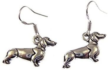 2.2cm tibetan silver sausage dog Dachshund dangly earrings on sterling silver hooks in organza gift bag