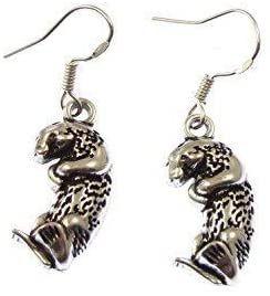 Cute otter dangly earrings sterling silver hooks 2.3cm in gift bag