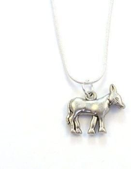 """2cm long donkey pendant on 17"""" silver snake chain necklace in organza bag"""