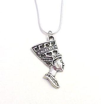 "Egyptian Nefertiti Queen head silver colour 17"" snake chain metal necklace"