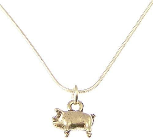 1.2 cm Pig Pendant On Silver 18.5