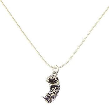 """2.3cm otter pendant on silver 17"""" silver snake chain necklace in organza gift bag"""