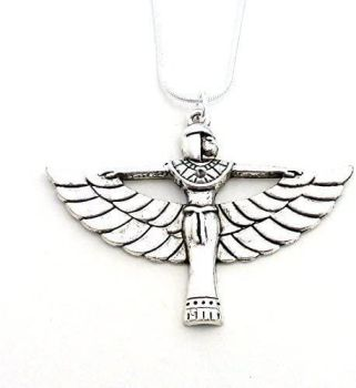 """Egyptian Queen wings silver colour 17"""" snake chain metal necklace"""
