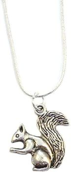 """2cm squirrel pendant on silver 17"""" silver snake chain necklace in organza gift bag"""