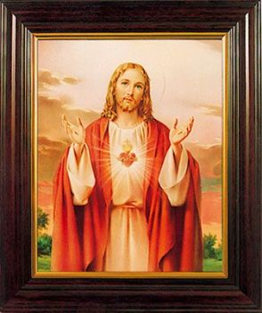 Sacred Heart of Jesus print in a wood frame 26cm tall hanging or standing