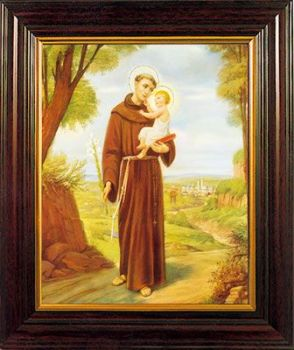 St. Anthony print in a wood frame 26cm tall hanging or standing