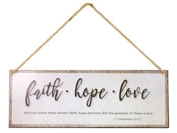 Swanson Iron Wall Hangings with Rope Faith Hope and Love 1 Cor 13:13 Bible Verse