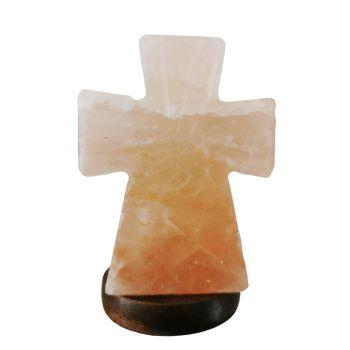 Natural Himalayan Salt lamp Cross Design USB 12cm