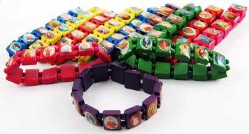 12 x Catholic saints bracelets wood in yellow red purple green blue pink