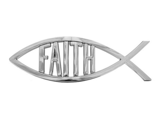 Christian fish Faith auto plaque car decal 13cm silver 3D stick on