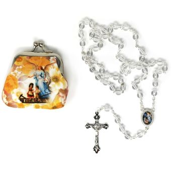 Clear glass round Guardian Angel rosary beads in purse 50cm