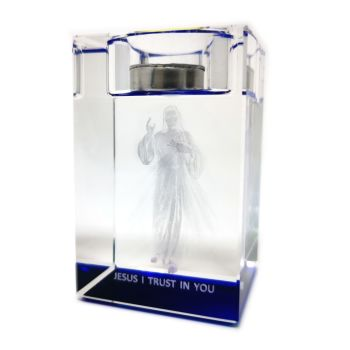 Crystal glass Divine Mercy tealight candle votive holder Catholic gift 8cm