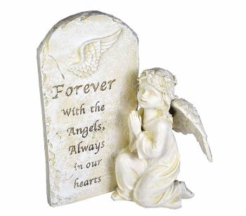 Praying angel ornament 17.5cm stone effect Forever with the angels