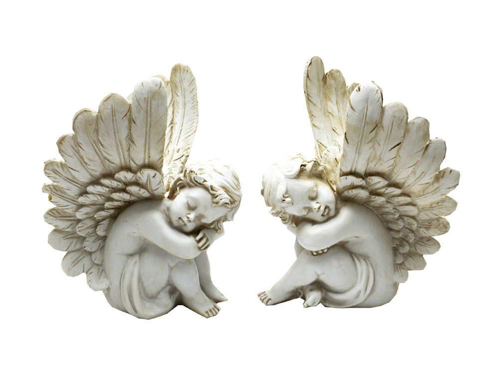 2 x sitting angel figures in natural stone effect 23cm