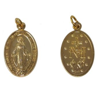 Gold colour metal Miraculous medal Virgin Mary 2.5cm