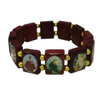 Brown wood Saints bracelet gold bead elastic Sacred Heart Jesus