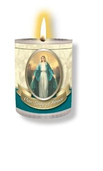 4 x Our Lady of Grace Candles Burns for 24 Hours Picture on The Front Prayer on The Back 2.5 inch Tall