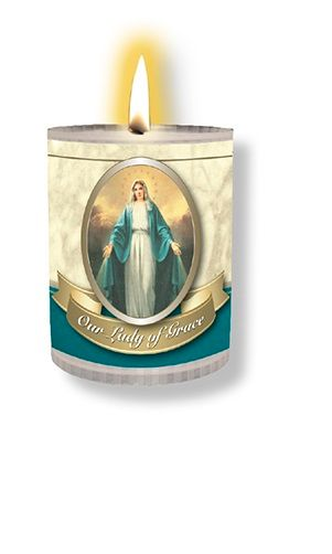 4 x Our Lady of Grace Candles Burns for 24 Hours Picture on The Front Praye