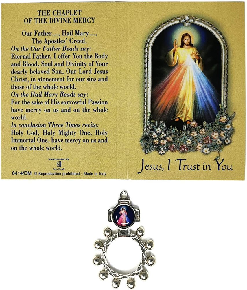 Divine Mercy silver metal rosary ring beads 5cm with Chaplet prayer
