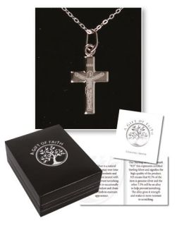 "Sterling silver Christian cross necklet medal 18"" chain necklace in gift box"