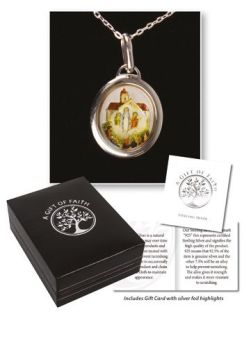 """Sterling silver Our Lady of Knock necklet medal 18"""" chain necklace in gift box"""