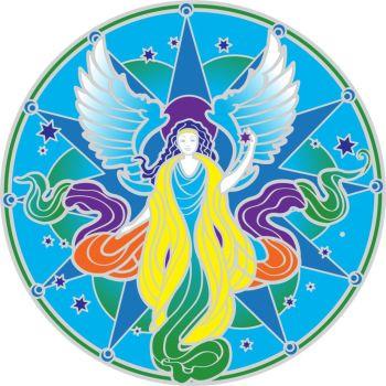 Guardian Angel Mandala Sun Catcher Sticker Sunseal for Windows and Doors 15cm