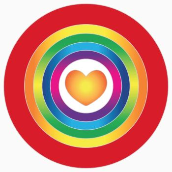 Rainbow Heart magnet 6cm for metal surfaces