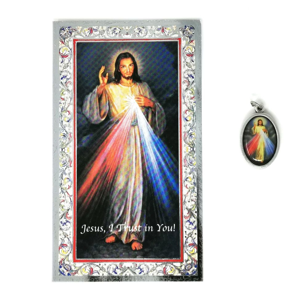 Catholic silver colour metal 2.5cm Divine Mercy Jesus medal pendant and pr