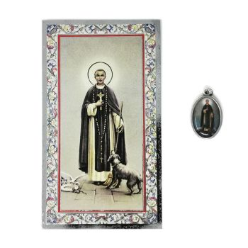 Catholic silver colour metal 2.5cm St. Martin de Porres medal pendant and prayer