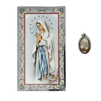 Catholic silver colour metal 2.5cm Our Lady of Lourdes medal pendant and prayer