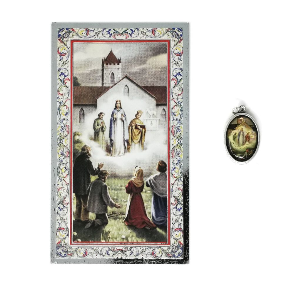 Catholic silver colour metal 2.5cm Our Lady of Knock medal pendant and pra