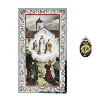 Catholic silver colour metal 2.5cm Our Lady of Knock medal pendant and prayer