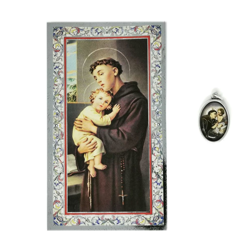 Catholic silver colour metal 2.5cm St. Anthony medal pendant and prayer