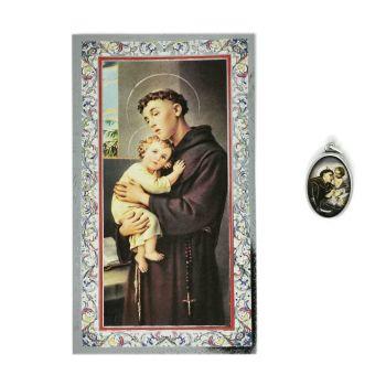 Catholic silver colour metal 2.5cm St. Anthony medal pendant and prayer