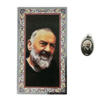 Catholic silver colour metal 2.5cm St. Padre Pio medal pendant and prayer