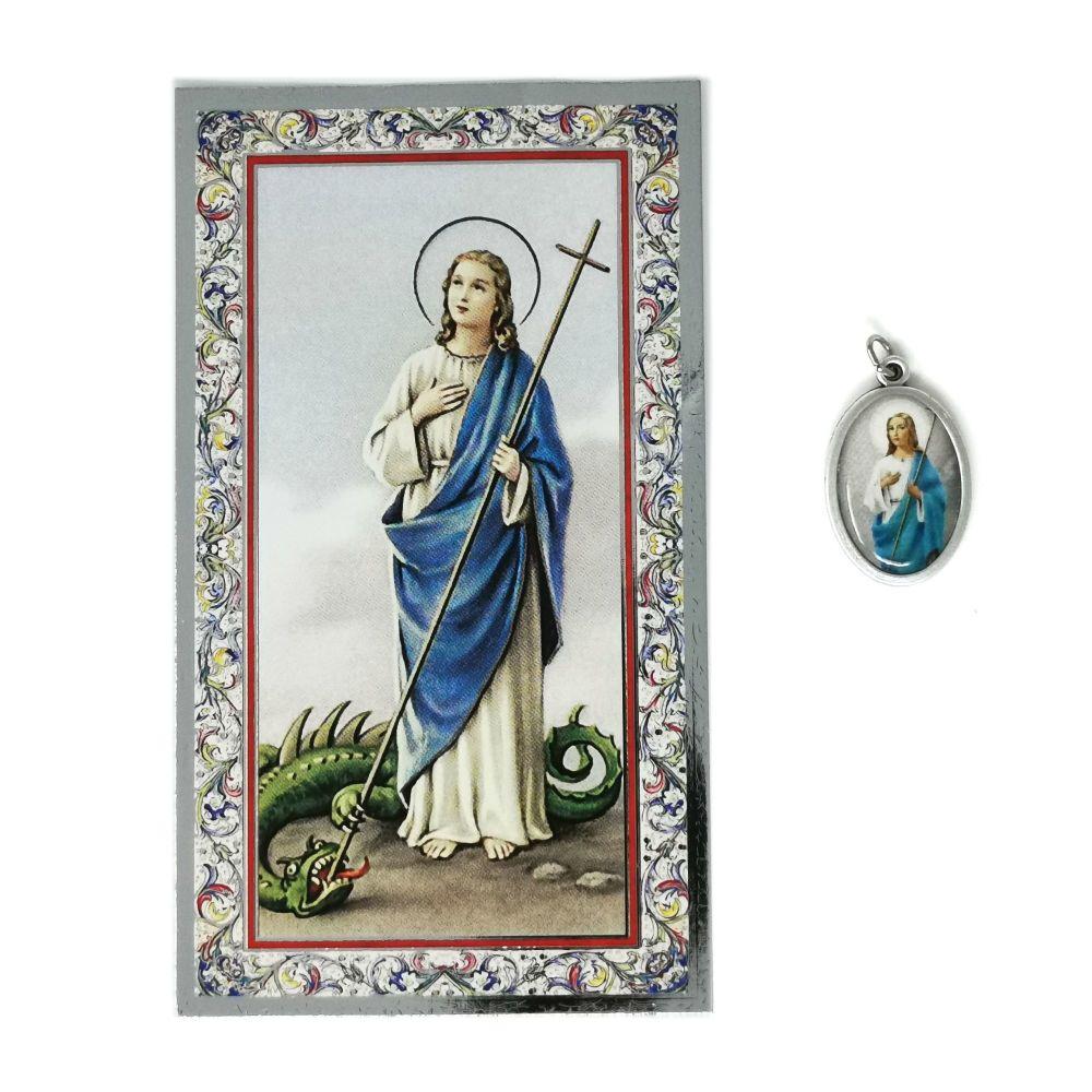 Catholic silver colour metal 2.5cm St. Martha medal pendant and prayer