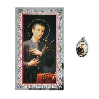 Catholic silver colour metal 2.5cm St. Gerard medal pendant and prayer