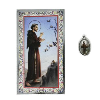 Catholic silver colour metal 2.5cm St. Francis of Assisi medal pendant and prayer