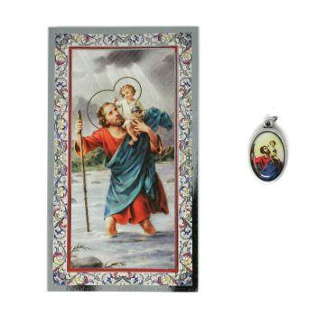 Catholic silver colour metal 2.5cm St. Christopher medal pendant and prayer