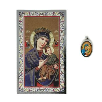 Catholic silver colour metal 2.5cm Our Lady of Perpetual Help medal pendant and prayer