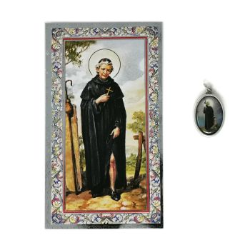 Catholic silver colour metal 2.5cm St. Peregrine medal pendant and prayer