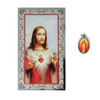 Catholic silver colour metal 2.5cm Sacred Heart of Jesus medal pendant and prayer