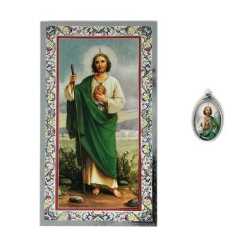 Catholic silver colour metal 2.5cm St. Jude medal pendant and prayer