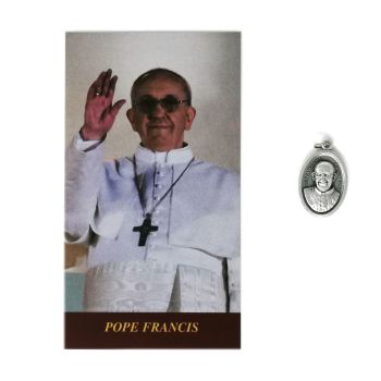 Catholic silver colour metal 2.5cm Pope Francis medal pendant and prayer