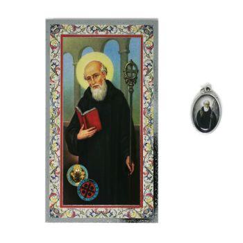 Catholic silver colour metal 2.5cm St. Benedict medal pendant and prayer