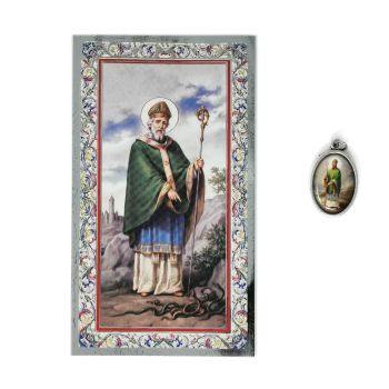 Catholic silver colour metal 2.5cm St. Patrick medal pendant and prayer