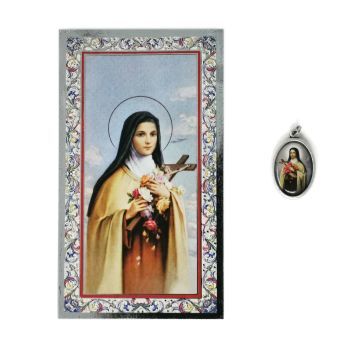 Catholic silver colour metal 2.5cm St. Therese medal pendant and prayer