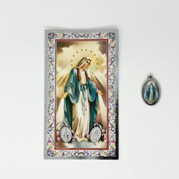 Catholic silver colour metal 2.5cm Miraculous Mary medal pendant and prayer